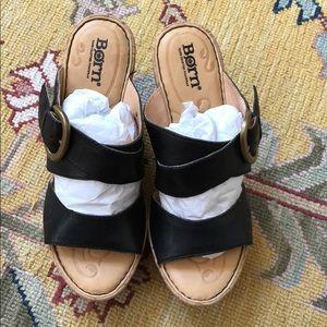 BORN wedge sandals - black leather- cork wedge